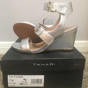 Tahari Wedge silver sandal